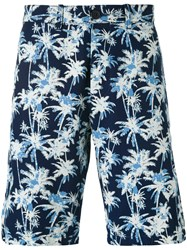 Edwin Palm Tree Print Shorts Men Cotton 36 Blue
