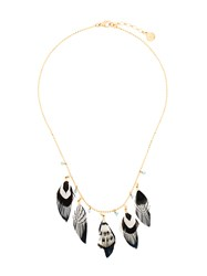 Gas Bijoux Sioux Necklace Feather Glass 24Kt Gold Plate Metallic