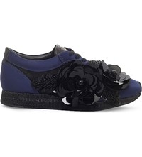 Kurt Geiger Langham Leather Trainers Navy