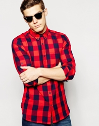 Pull And Bear Pullandbear Large Gingham Check Shirt Red
