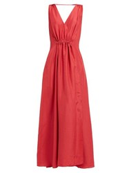 Three Graces London Felicienne V Neck Silk Maxi Dress Red
