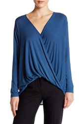 Abound Long Sleeve Surplice Blouse Blue
