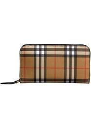 Burberry Vintage Check And Leather Ziparound Wallet Nude And Neutrals