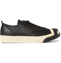 Undercover Logo Leather And Rubber Sneakers Black