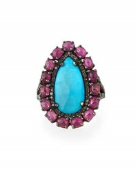 Bavna Turquoise Ruby And Champagne Diamond Cocktail Ring