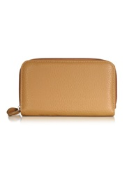 Fontanelli Leather Zip Around Wallet Brown