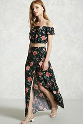 Forever 21 Floral Wrap Maxi Skirt Black Rose