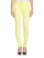 Giambattista Valli For 7 For All Mankind Neon High Rise Skinny Jeans Blazing Yellow