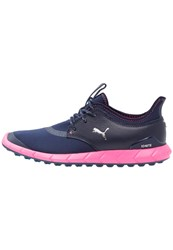 Puma Golf Ignite Spikeless Sport Golf Shoes Peacot Silver Knockout Pink Dark Blue