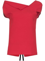 Roland Mouret Raywell Origami Top Red