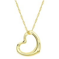 Ibb 9Ct Yellow Gold Twist Curb Chain Heart Pendant Necklace Gold
