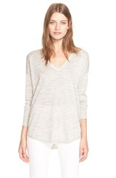 Joie 'Chyanne' V Neck Metallic Pullover Pink Champagne