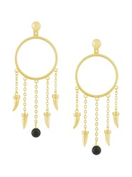 Eshvi Fang Pearl Charm Earrings Metallic