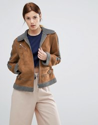 Urbancode Contrast Faux Shearling Jacket Brown