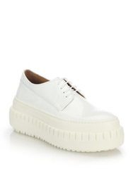 Acne Studios Sacha Leather Platform Lace Up Shoes White