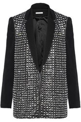Alice Olivia Crystal Embellished Crepe Jacket Black