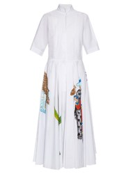 Stella Jean Giudice Hand Painted Cotton Blend Dress White Multi
