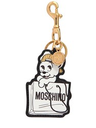 Moschino Pudgy Leather Key Chain White