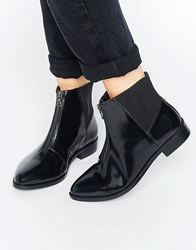 Asos Alsace Leather Zip Ankle Boots Black Box Leather