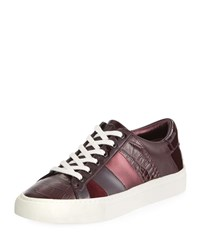 Tory Burch Ames Mixed Leather Low Top Sneakers Malbec
