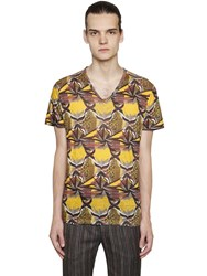 Etro Psychedelic Linen Jersey V Neck T Shirt