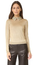 Alice Olivia Dia Collared Metallic Sweater Gold