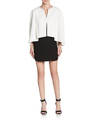 Bcbgmaxazria Crystal Blocked Cape Overlay Dress Black White