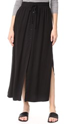 Bella Dahl Button Front Skirt Black Olive