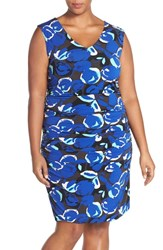 Halogen Plus Size Women's Side Ruched V Neck Sheath Dress Blue Teal Rose Print