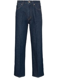 Gold Sign Goldsign High Waist Straight Leg Cropped Jeans Blue