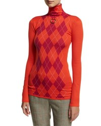 Stella Mccartney Argyle Wool Turtleneck Sweater Pink Red Pink Red