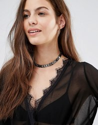 Designb London Metal Chain Choker Gunmetal Silver