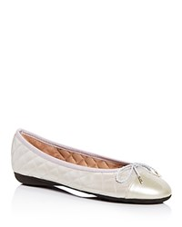 Paul Mayer Best Metallic Quilted Ballet Flats Silver