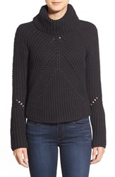 Petite Women's Halogen Turtleneck Sweater With Open Stitch Detail Heather Charcoal