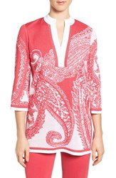 Ming Wang Women's Print Split Neck Knit Tunic