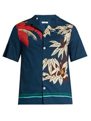 Valentino Tropical Print Cotton Shirt Navy Multi