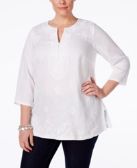 Charter Club Plus Size Linen Embroidered Tunic Only At Macy's Bright White