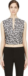 Thierry Mugler Black And White Leopard Jacquard Crop Top