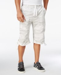 Sean John Men's Camo Print Flight Shorts Bright White