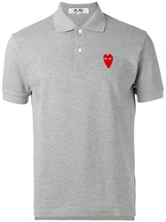 Comme Des Garcons Play Elongated Heart Polo Shirt Grey