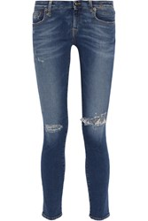 R 13 R13 Kate Distressed Low Rise Skinny Jeans Mid Denim