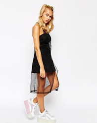 The Ragged Priest Strappy Cami Dress In Sheer Mesh Fabric Black