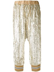 Twin Set Sequin Embellished Cropped Trousers Women Polyester Viscose 42 Metallic