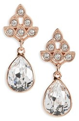 Nina Women's Art Nouveau Double Drop Crystal Earrings Silver
