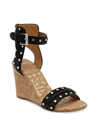 Dolce Vita Dante Leather Wedge Sandals Black