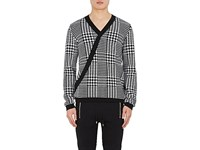 Balmain Men's Houndstooth Wool Surplice Sweater Black White