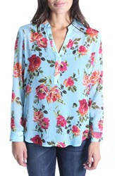 Kut From The Kloth Lucida Floral Crinkle Woven Top Sky Blue
