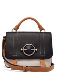 Jw Anderson Disc Leather Satchel Bag Navy Multi