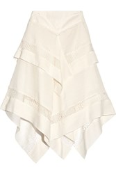 Wes Gordon Asymmetric Lace Trimmed Silk And Wool Blend Gauze Skirt Ivory