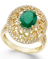 Effy Emerald 1 1 2 Ct. T.W. And Diamond 1 2 Ct. T.W. Antique Ring In 14K Gold Green